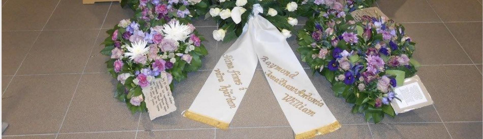 skriva på begravningsblommor
